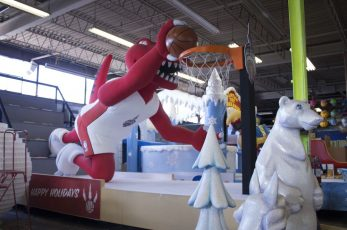 The 2016 All-Star Game float featuring the the Raptor mascot of the Toronto Raptors.