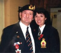 Merchant mariner William O'Leary poses with Angie Gualitieri, Royal Canadian Legion president at the Pape Avenue branch.