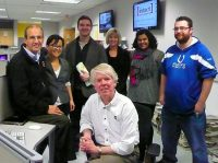 Rick Hodgson (standing at right) with Centennial College journalism profs and students during a placement meeting in 2011.
