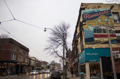 Welcome to Riverside, at Grant Street and Queen Street East.