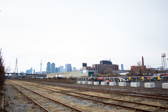 The tracks that might lead to a future Unilever Site SmartTrack station, one stop east of Union Station.