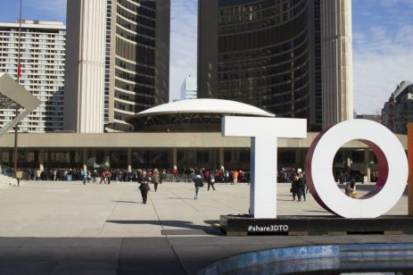 Torontonians gathered at City Hall hours before the procession began.
