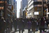 A seemingly endless crowd trailed the procession led by Rob Ford's family.