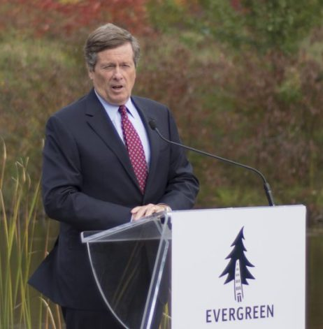 Toronto Mayor John Tory speaking at press conference, Tuesday, to announce latest phase in Don River Valley super park plans.