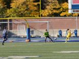 Briam Jimenez Lopez scores the fourth and final goal past Blues stopper Mark Rogal.