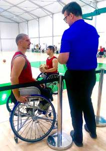 Keegan Matheson interviewing an athlete in Rio