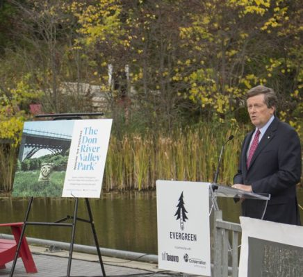 Mayor John Tory addresses crowd at press conference Tuesday, at the Evergreen Brick Works, where he detailed the newly proposed Don River Valley park.