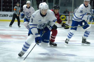 Michael McLeod (9) continued his strong offensive play since returning from New Jersey Devils training camp. Fresh off signing his entry level deal, the Steelheads captain scored a goal and added three assists against the Guelph Storm.
