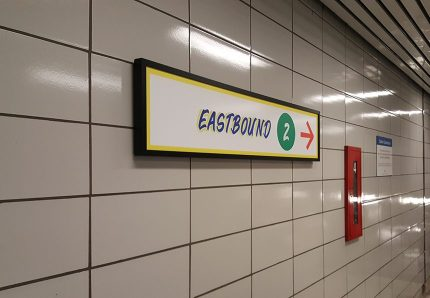 Eastbound trains sign