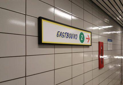 Eastbound trains sign