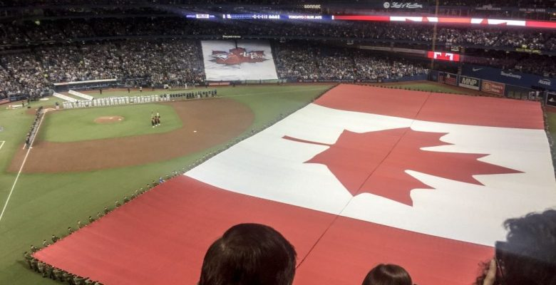 Canadian flag on display at Rogers Centre.