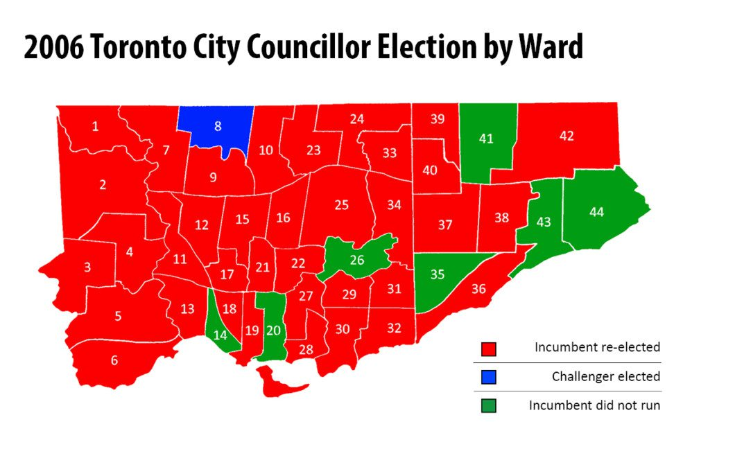 map of 2006 Toronto municipal election results