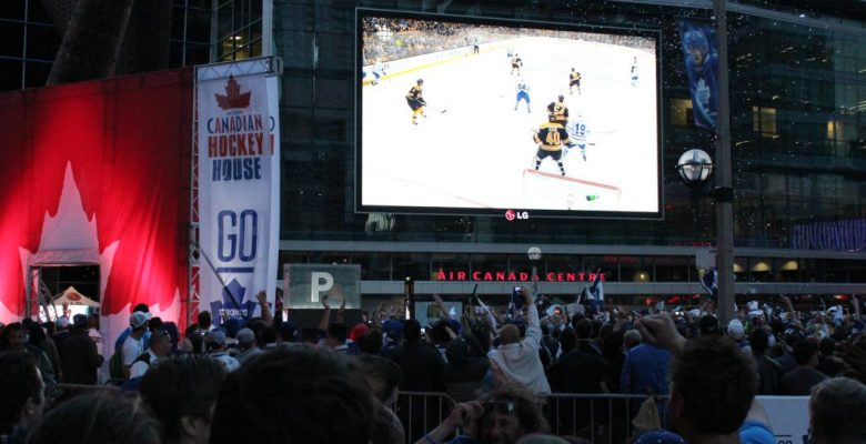 Leafs fans in Maple Leaf Square