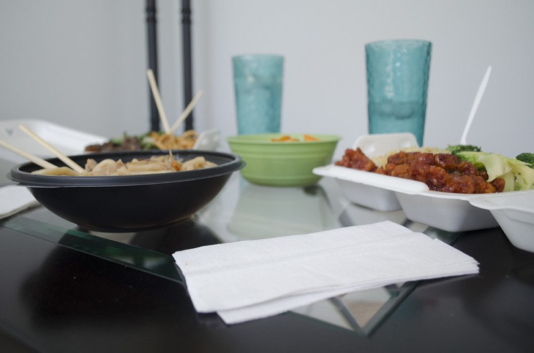 takeout containers of food