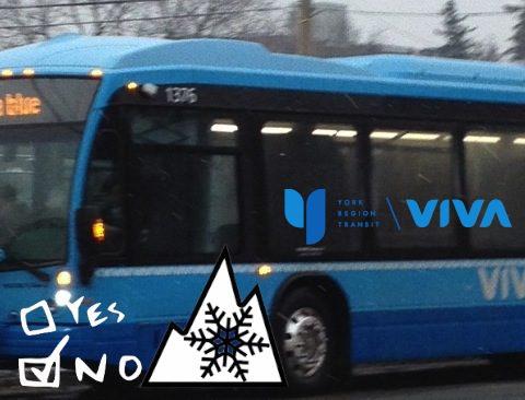 York Region Transit Viva bus - no snow tires