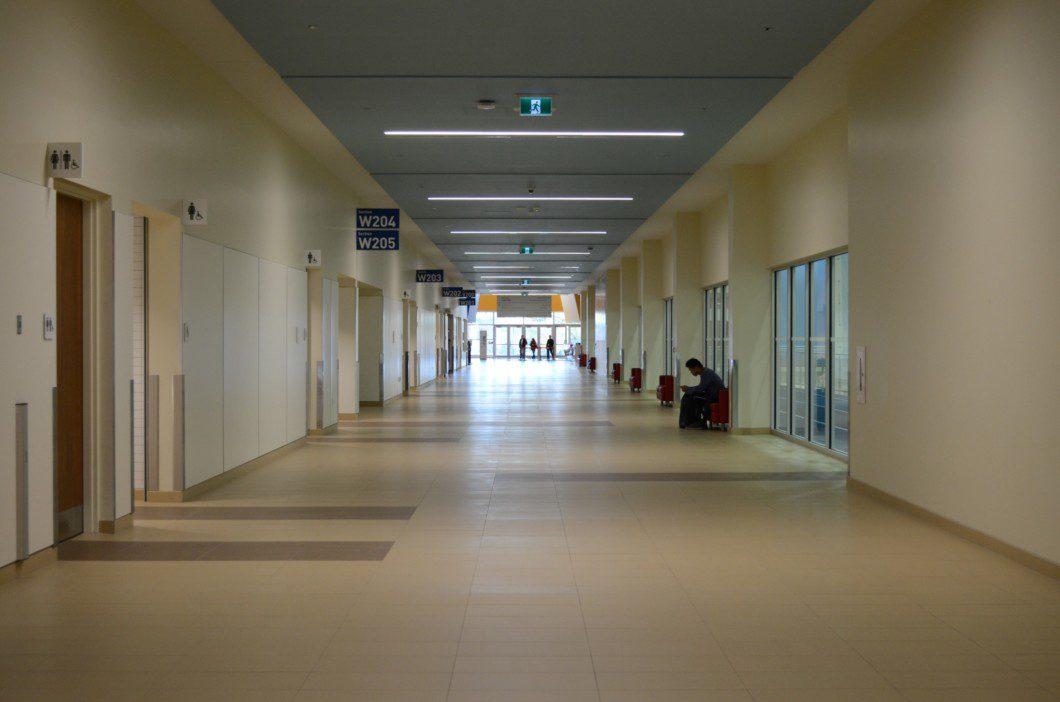 hallway inside Pan Am pool building