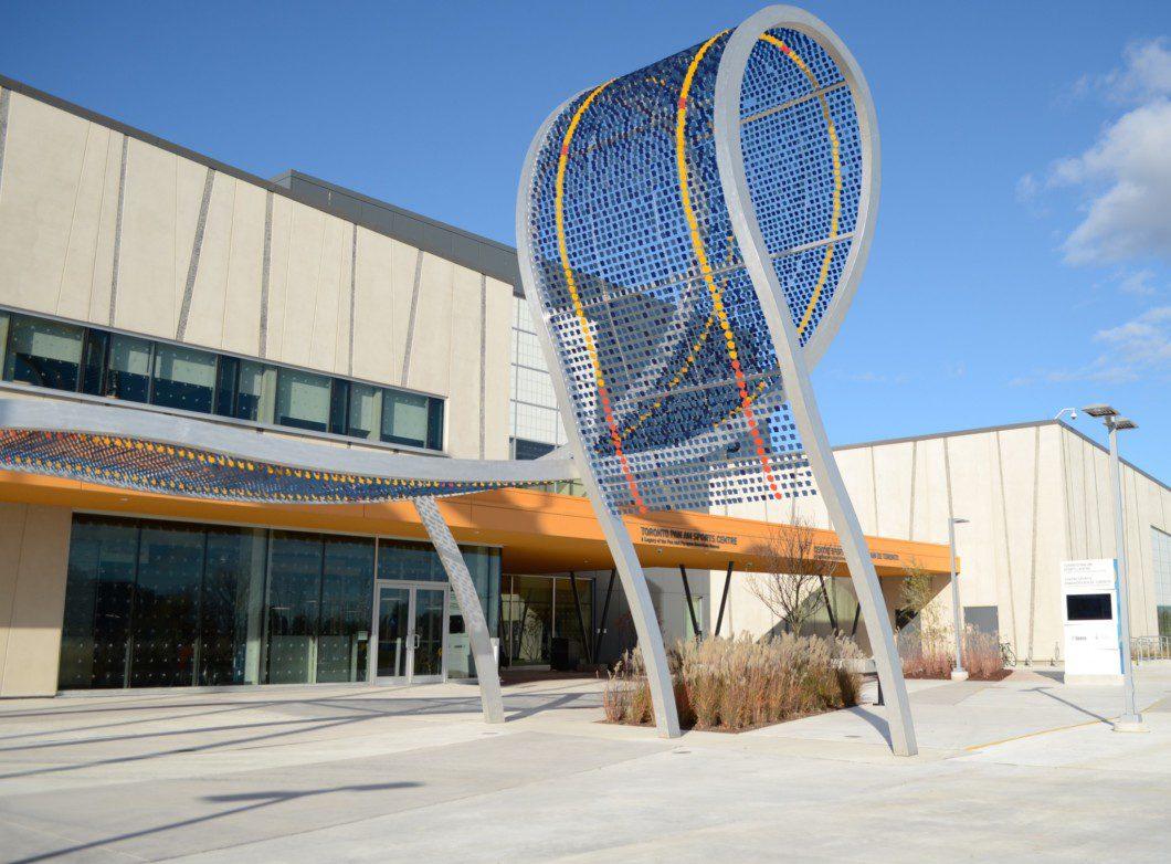 sculpture outside Pan Am pool building