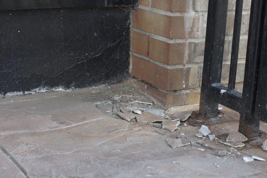 chipped exterior flooring