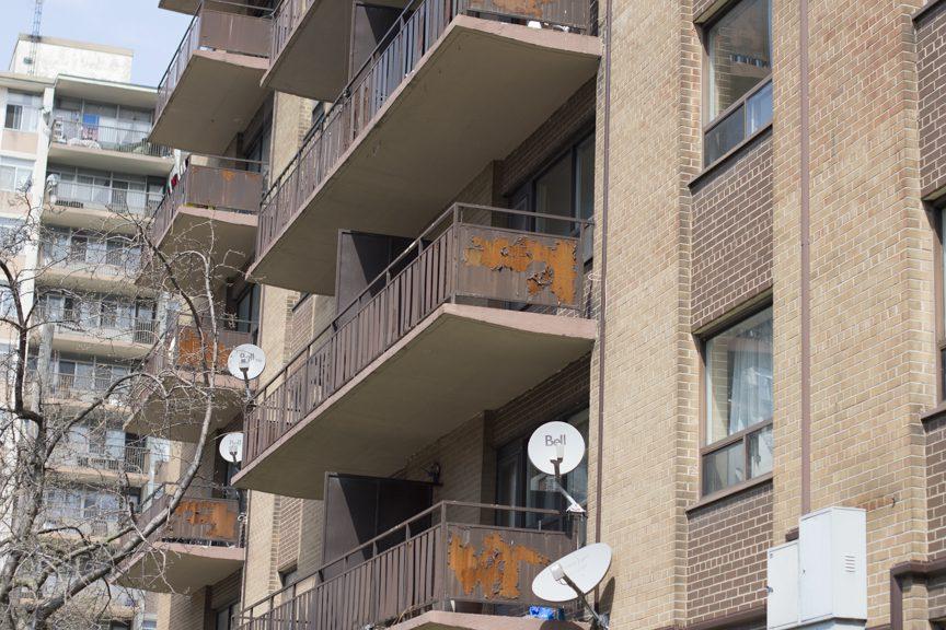paint peeling from balconies