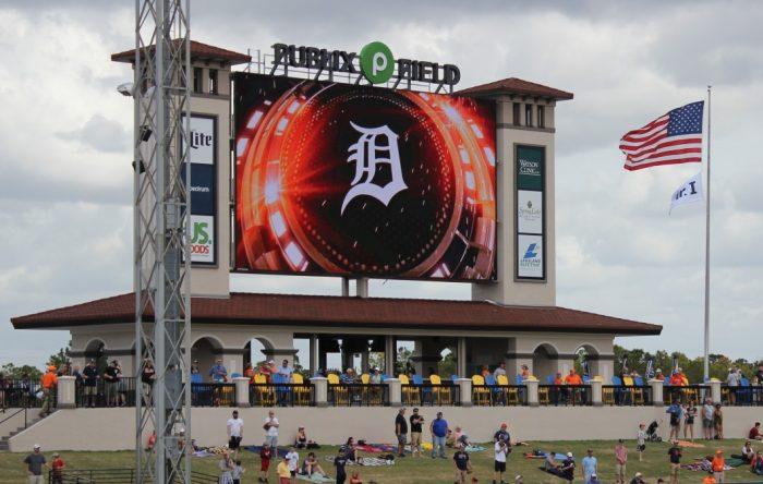 new scoreboard at Joker Marchant Stadium