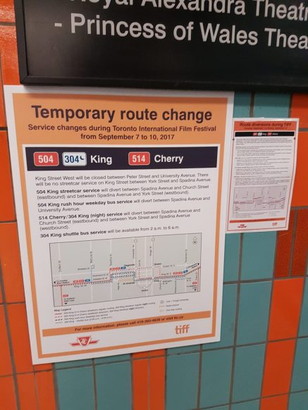 Temporary route change information for 504 King and 514 Cherry
