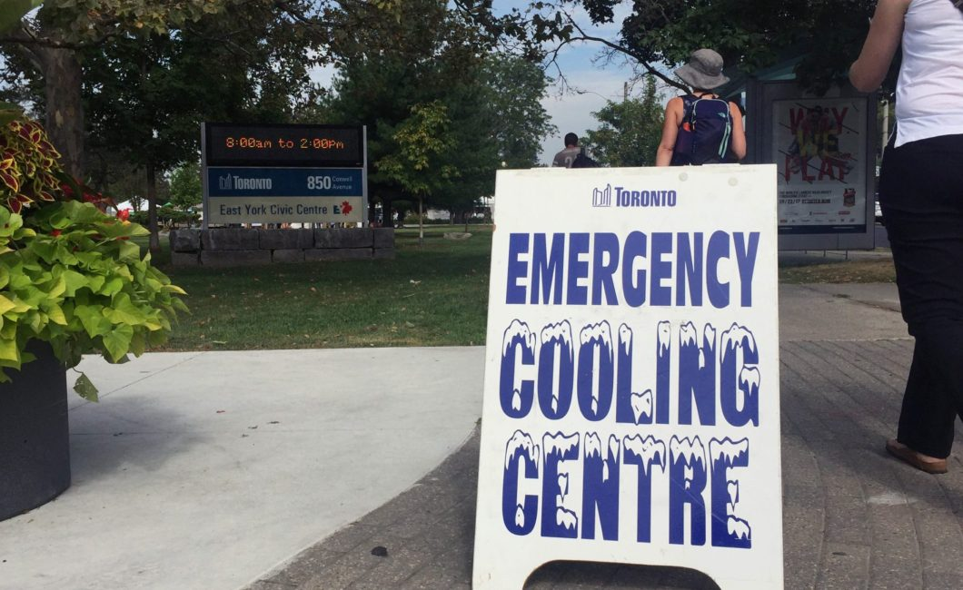 Sign of cooling centre in front of East York Civic Centre