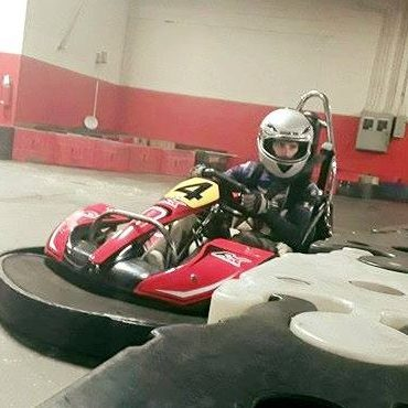Matthew Hayley driving his go-kart.