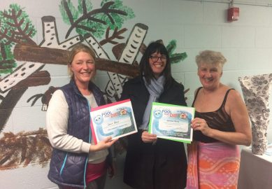 Sally Bliss and Jennifer Story shows their recognition certificates and poses with Councillor Paula Fletcher.