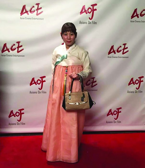 G-Hey at the Asians On Film festival in Los Angeles. Her film Dont Click won the award for best horror film.