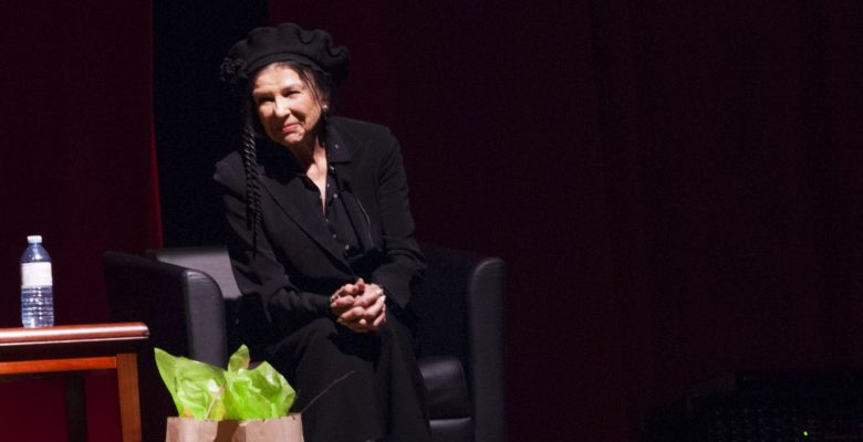 Alanis Obomsawin answers questions after the film screening of her movie.