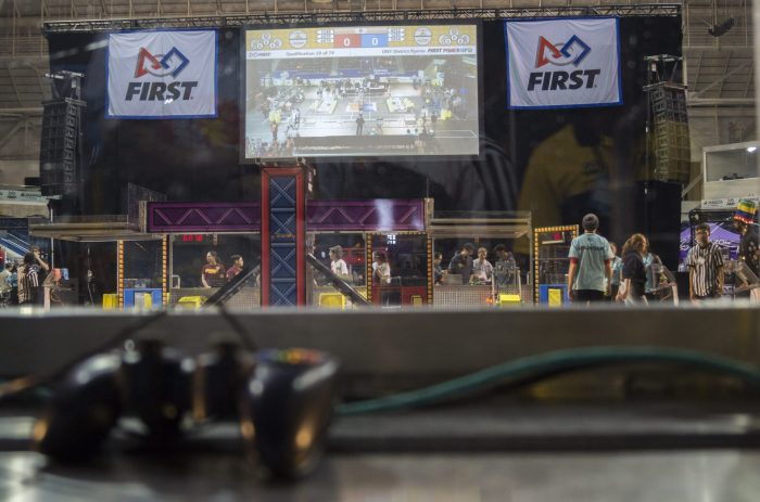Teams prepare to begin competing at the FIRST Robotics Ontario district competition at Ryerson University's Mattamy Athletic Centre.