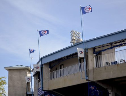 The Blue Jays flags were flying on the windy day. (Cam Newell photo)