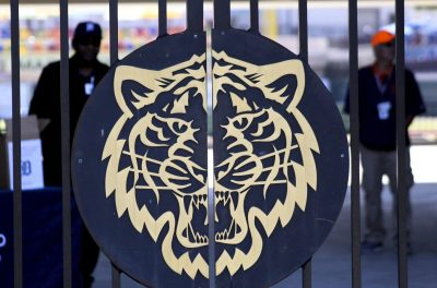 A Tigers logo on the gates