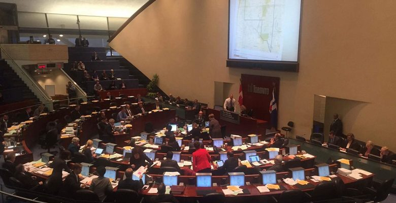 A photo of city council in action.