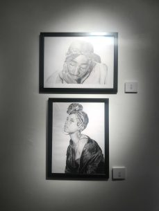 ketches of Alicia Keys and Tupac created by Renee Moulelis