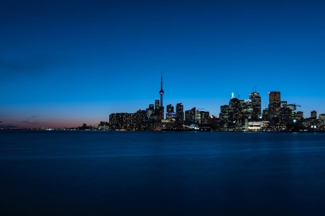 Toronto Skyline at Night Polson Pier