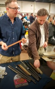 Mike and Adrian inspecting new acrylic rods that Parks picked up at the show.
