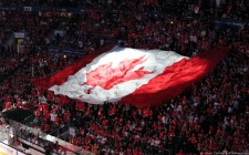 A giant Canadian flag to start the gold metal game