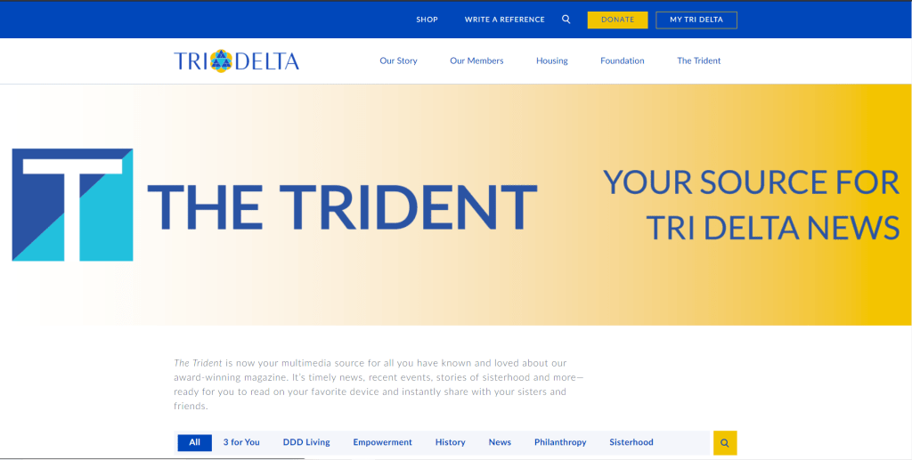 Screen shot of The Trident home page. Your source for Tri Delta News.