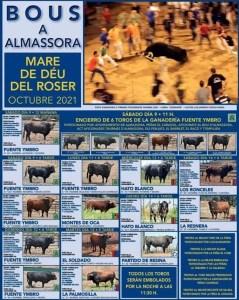 TOROS ALMASSORA DEL 9 AL 16 OCTUBRE 2021