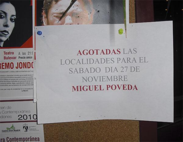 Agotadas las localidades para Miguel Poveda