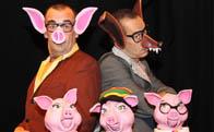 Los tres cerditos, ó cuatro. Clown y teatro de títeres.