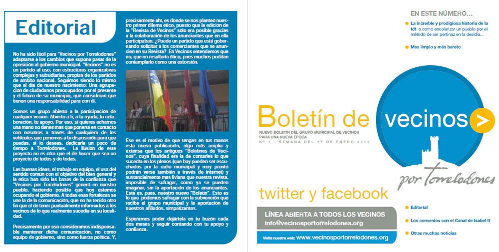 Editorial del 1º Boletin de Vecinos por Torrelodones del 2012