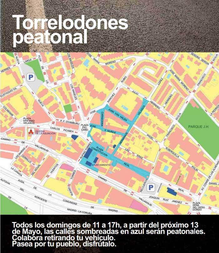 Calles de Torrelodones que serán peatonales los domingos de 11 a 17 horas (sombreadas en azul)