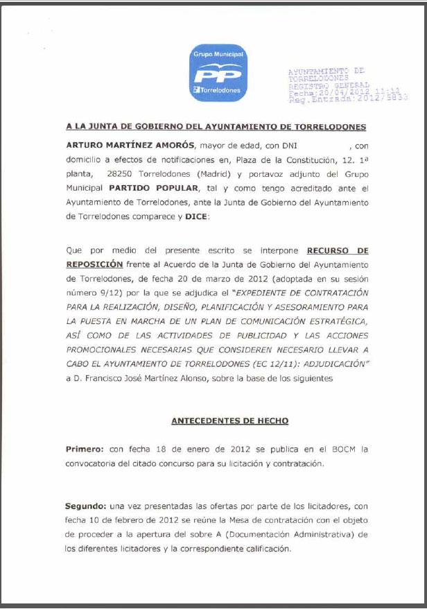 Recurso de Reposición frente al Acuerdo de la Junta de Gobierno del Ayuntamiento de Torrelodones que adjudica el Plan de Comunicación Estratégica