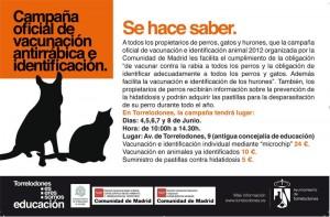 Campaña oficial de vacunación antirrábica e identificación. Campaña de prevención de la Hidatidosis. Torrelodones