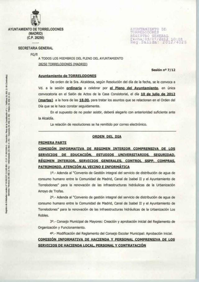 Orden del día del Pleno del Ayuntamiento de Torrelodones del 10 de julio de 2012