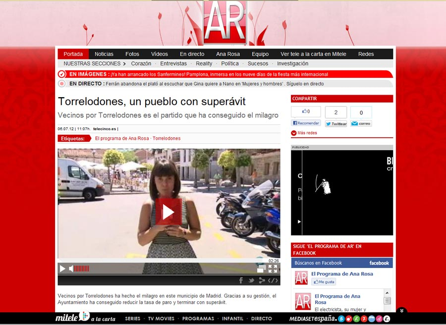 Torrelodones en el Programa de Ana Rosa (Telecinco)