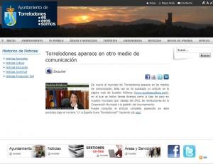 Captura de la Nota del Ayto. de Torrelodones informando de nueva aparición en los medios