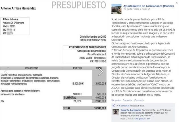 Presupuesto para cubrir con la lona la Torre de los Lodones publicado en el muro de Facebook del Ayuntamiento de Torrelodones